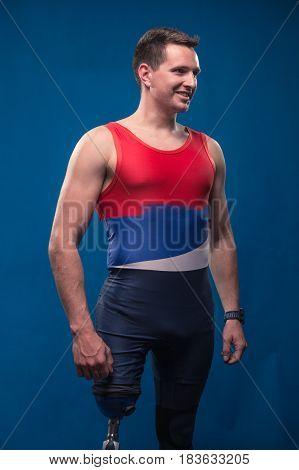 Man Athlete Sportsman Portrait Posing, Disabled Prosthetic Leg