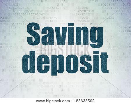 Banking concept: Painted blue word Saving Deposit on Digital Data Paper background