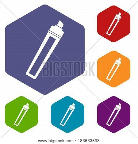 Marker icons set hexagon isolated vector illustration