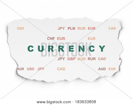 Banking concept: Painted green text Currency on Torn Paper background with  Currency