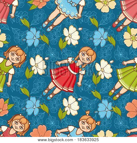 Little Ballerina and Flower. Cartoon style. Seamless pattern. Baby Doll. Colorful background. Botanical ornament.
