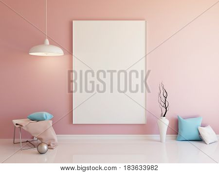 Interior mockup illustration of pink room with with blank vertical board and decoration
