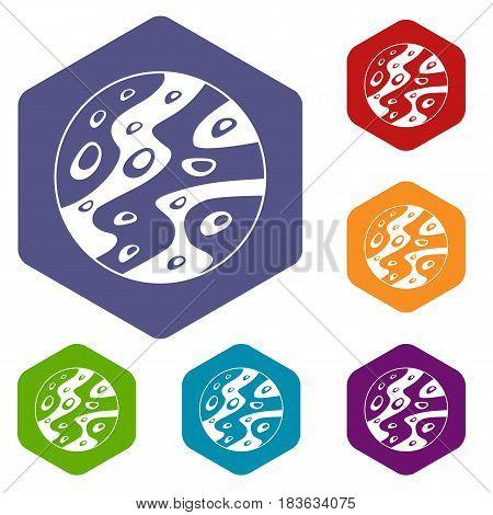 Moon icons set hexagon isolated vector illustration