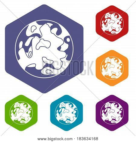 Small planet icons set hexagon isolated vector illustration