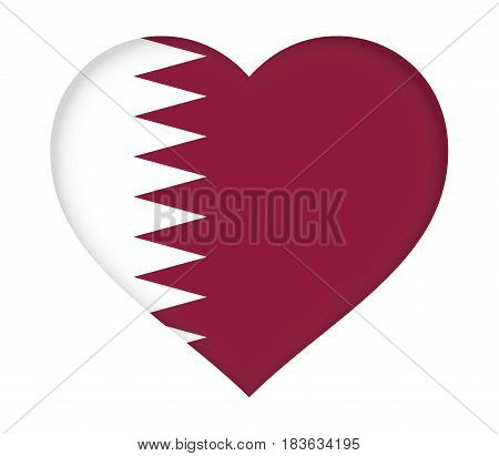 Illustration of the flag of Qatar shaped like a heart.