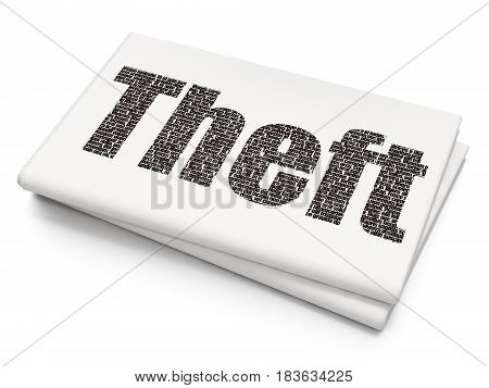Protection concept: Pixelated black text Theft on Blank Newspaper background, 3D rendering