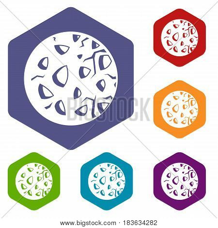 Rocky planet icons set hexagon isolated vector illustration