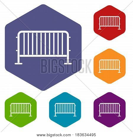 Steel barrier icons set hexagon isolated vector illustration