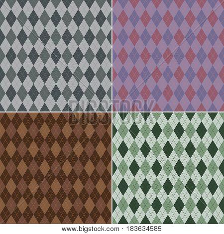 Seamless argyle pattern. Diamond shapes backgrounds, vector set