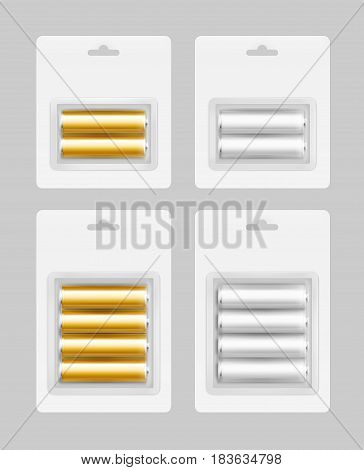 Vector Set of Two and Four White Silver Gray Golden Yellow Glossy Alkaline AA Batteries in White Blister Packed for branding Close up Isolated on Background