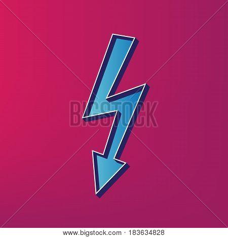 High voltage danger sign. Vector. Blue 3d printed icon on magenta background.