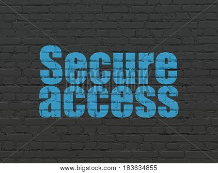 Security concept: Painted blue text Secure Access on Black Brick wall background