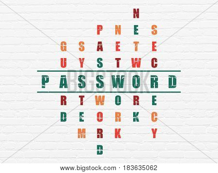 Protection concept: Painted green word Password in solving Crossword Puzzle