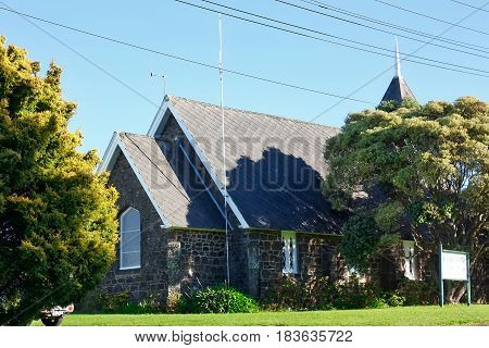 St James Church, Mangere, Auckland , New Zealand is the only surviving stone church from the Selwyn period. Stones used for building were taken from Mangere Mountain, and brought down by cart or on workers backs. Due to the difficulty of stone constructio