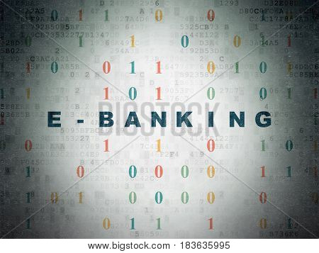 Finance concept: Painted blue text E-Banking on Digital Data Paper background with Binary Code
