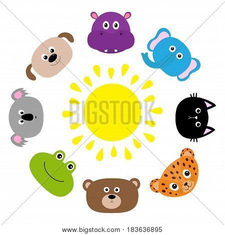 Cat jaguar dog hippopotamus elephant bear frog koala. Roundelay around sun Zoo animal head face Cute cartoon character set. Baby children education. Flat design White background Isolated Vector