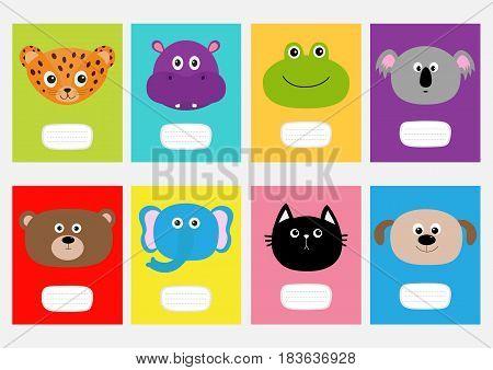 Notebook cover Cat jaguar dog hippopotamus elephant bear frog koala. Zoo animal head face Cute cartoon character set Baby children education. Flat design. White background. Isolated Vector