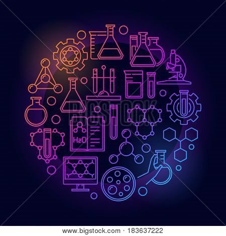 Education and chemistry colorful symbol. Vector circular creative chemical sign in thin line style on dark background