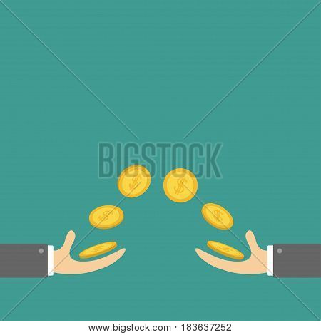 Giving and taking Hands with flying golden coin money dollar sign. Helping hand concept. Flat design style. Business support credit icon set. Green background. Vector illustration.