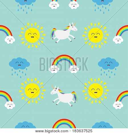 Cute cartoon sun cloud with rain rainbow unicorn horse with eyes set. Baby Seamless Pattern Wrapping paper textile template. Blue background. Flat design. Vector illustration.