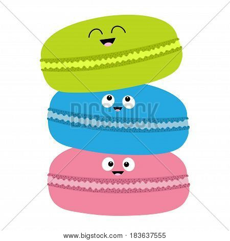 Three macaron or macaroon icon. Sweet bakery pastry cookies set with face. Cute cartoon smiling character collection. Fast food snack. Isolated. White background. Flat design. Vector illustration