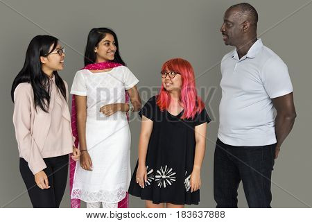 Group of diverse people smiling and communicated