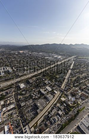 Aerial view of the Ventura 134 Freeway, Glendale and Los Angeles in Southern California.