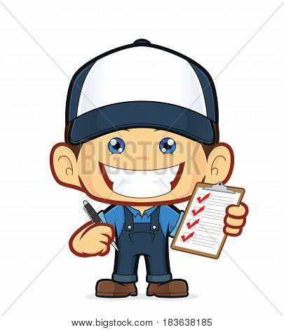 Clipart picture of a mechanic cartoon character holding pen and clipboard