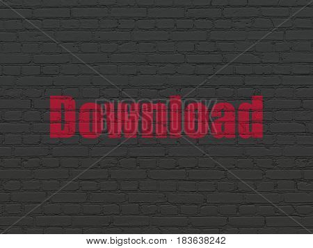 Web design concept: Painted red text Download on Black Brick wall background
