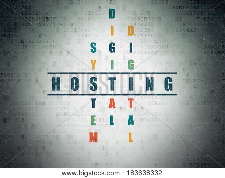 Web development concept: Painted blue word Hosting in solving Crossword Puzzle on Digital Data Paper background