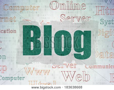 Web development concept: Painted green text Blog on Digital Data Paper background with   Tag Cloud