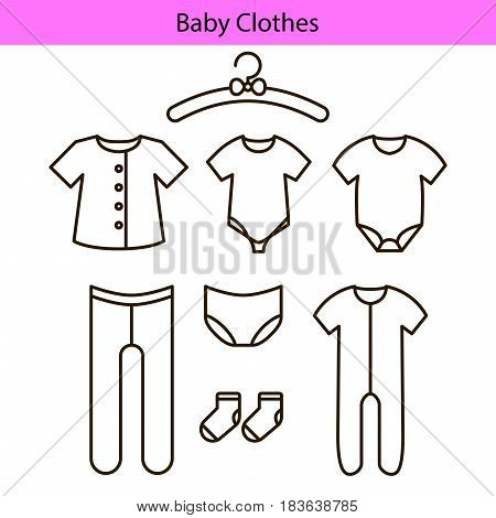 Baby clothes vector line icons. Outline sliders, bodysuit, socks and panties