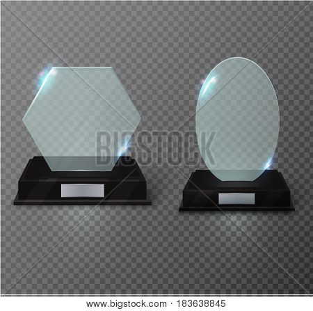 Blank glass award trophy on a transparent background.glass shelf. Glossy trophy award for illustration.realistic empty.black 3D booth .vector