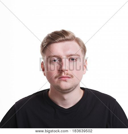 Sad, bored man isolated on white background. Negative emotion. Facial expressions