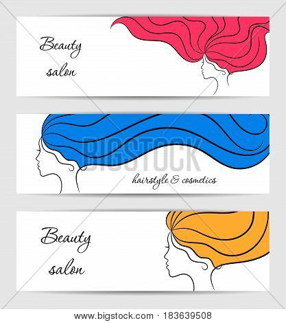 Horizontal white banners for beauty and cosmetics salon with contour girl profiles