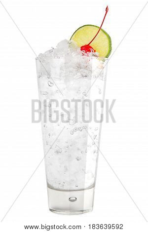 Refreshing Cocktail With Ice And A Slice Of Lime