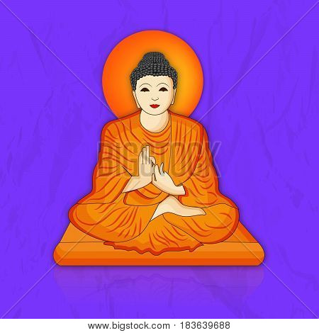 illustration of Lord Buddha on blue background for Buddha Purnima