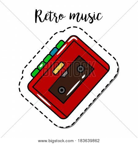 Fashion patch element with quote, Retro music with cassette player vector badge