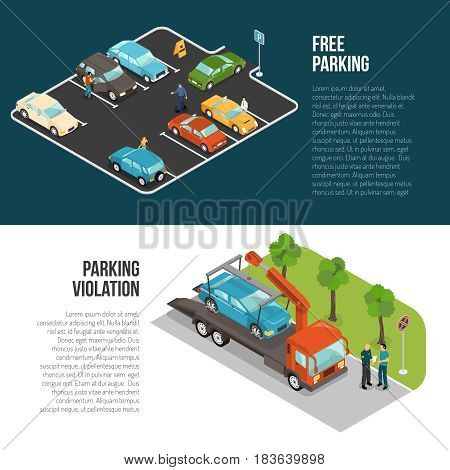 Two horizontal colored car parking banner set with free parking and violation vector illustration