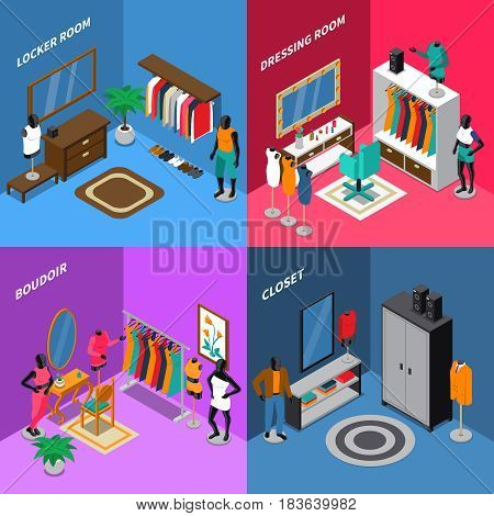 Isometric compositions with mannequins in clothing near dressing tables and wardrobe mirror and carpet isolated vector illustration