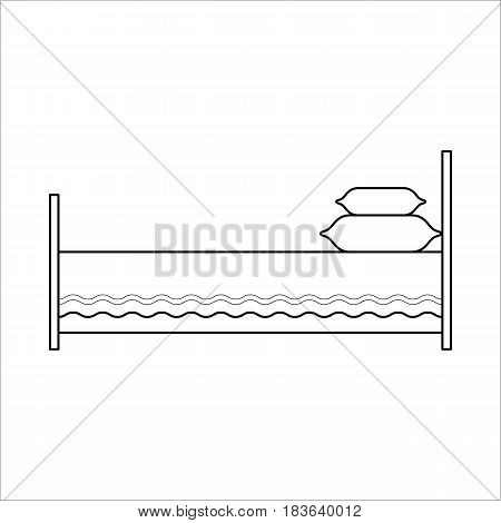 Bed with two pillows, home furniture lineart design, hand drawn sketch of single object, interior concept, vector illustration on white background