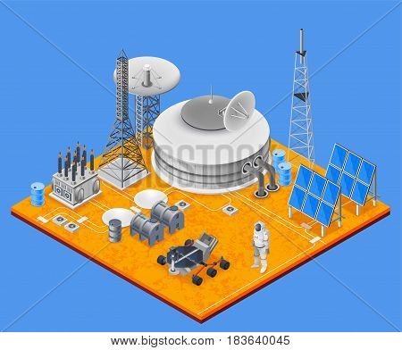 Space station isometric concept with solar energy symbols vector illustration
