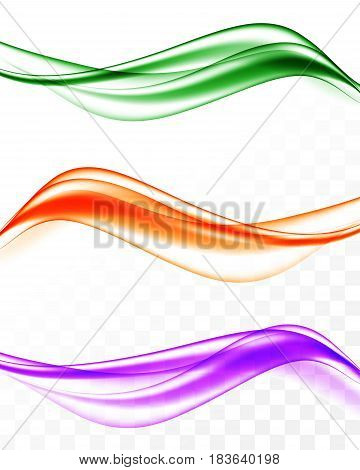 Abstract elegant wavy bright lines set in purple orange green colors and smooth dynamic soft style on transparent background. Vector illustration