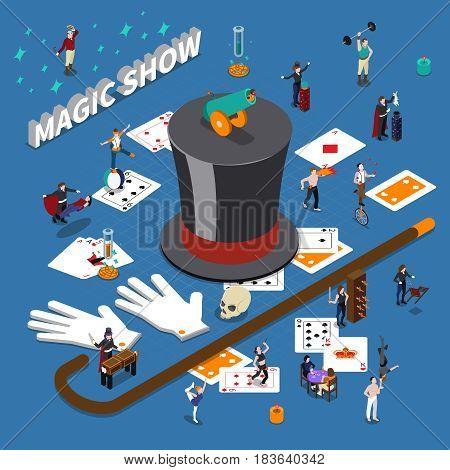 Magic show isometric composition with masters of tricks, cane, hat, playing cards on blue background vector illustration