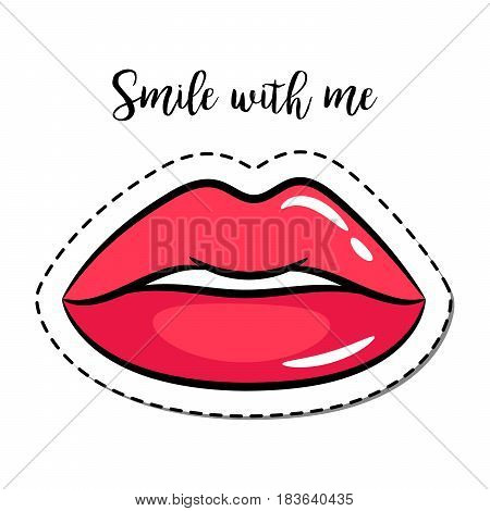 Fashion patch element with quote, Smile with me, and woman lips vector illustration