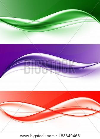 Abstract elegant light wavy lines set in green purple red colors and smooth dynamic style. Vector illustration