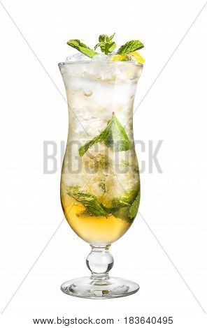 A Refreshing Cocktail With Mint And Lemon. Alcohol Cocktail On A White Background