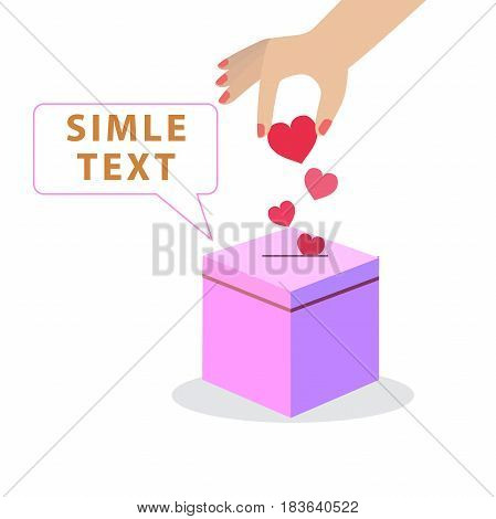 Valentines day gift box. Pink hearts coming go in gift box. Holiday gift present with flying hearts for holiday design. Gift box open. Love is in the air. Love box. Window for your text