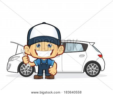Clipart picture of a mechanic cartoon character repairs car poster