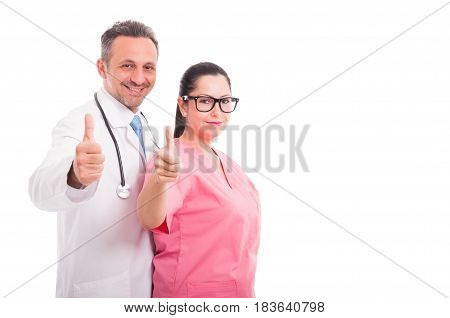 Happy Cheerful Medical Team Indicate Like Sign